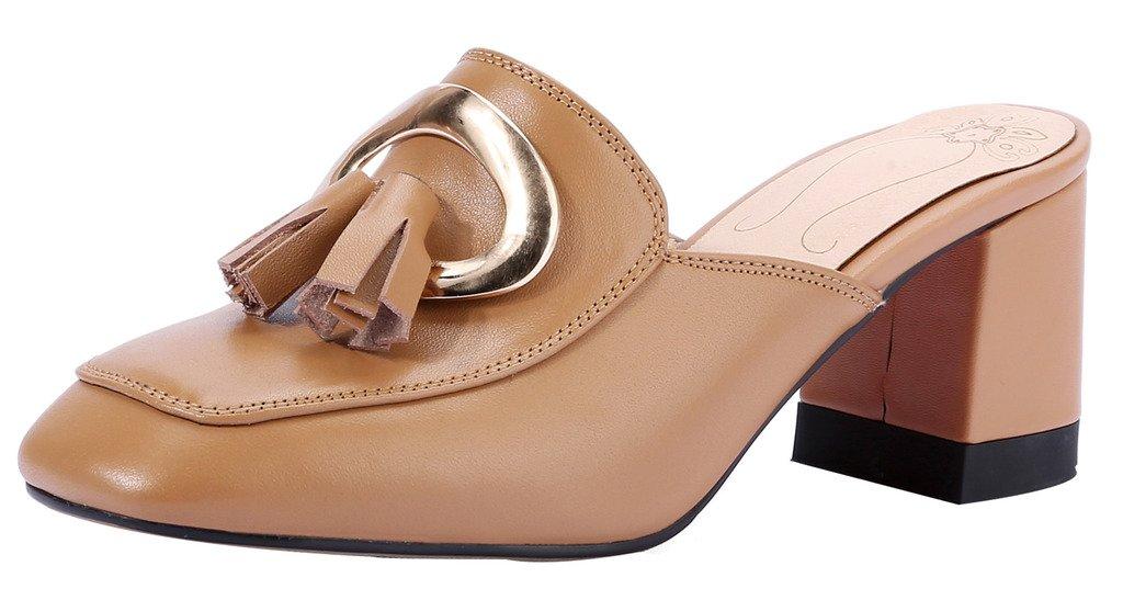 Calaier Mujer Cahousework Bloquear 6.5CM Cuero Ponerse Zuecos Zapatos 35|Marrón