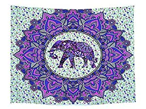 Elephant Pattern Multifunctional Tapestry Wall Hanging Decor Indian Home Hippie Bohemian Tapestry for Bedroom Living Room Dorms