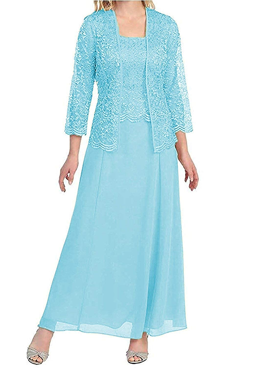 bluee Mother of The Bride Dresses with Jackets Formal Evening Gowns Long Sleeves Lace Mother Dress