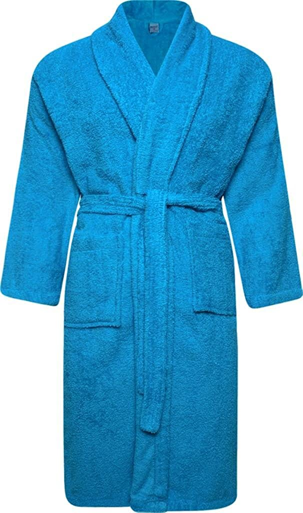 Adore Home Unisex 100% Cotton Terry Toweling Shawl Collar Aqua Bathrobe Dressing Gown