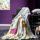 smallbeefly Nursery Lightweight Blanket Floral Background with Funny and Cute Animals Giraffe Lion Monkeys and Butterflies Digital Printing Blanket Multicolor