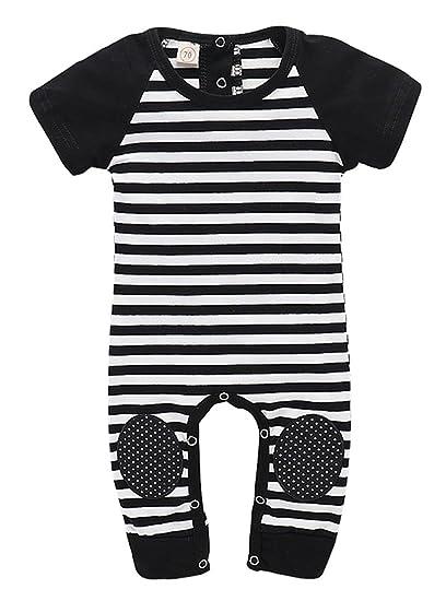 d369a17f9 Amazon.com  Slinkaslp Newborn Baby Boy Girl Short Sleeves Striped ...