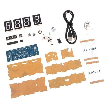 Sharplace Kit de Reloj LED Digital Control de Luz Temperatura 4-dígitos DIY Tamaño Ergonómico