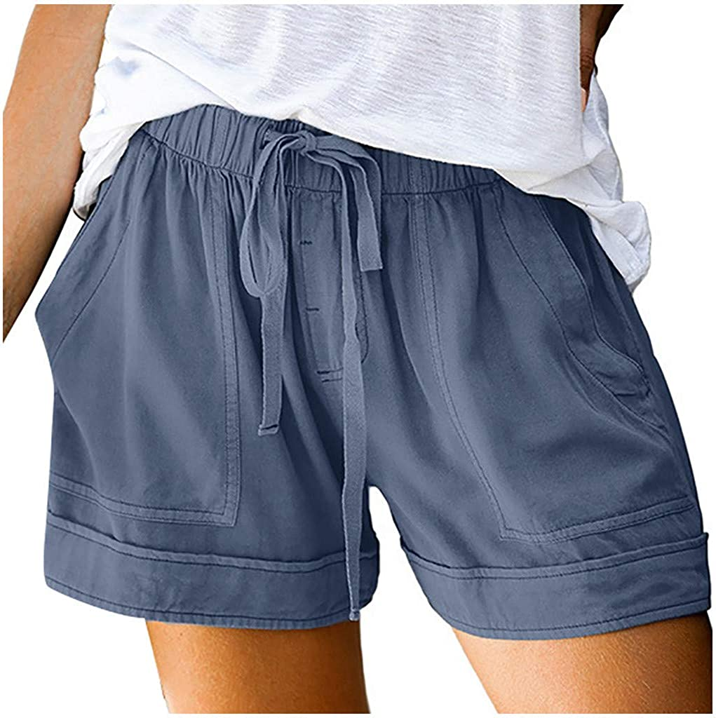 Pantaloncini Donna Eleganti Pantaloni Donna Estivi Taglie Forti Vita Alta Womens Comfy Drawstring Splice Casual Elastic Waist Pocketed Loose Shorts Pants