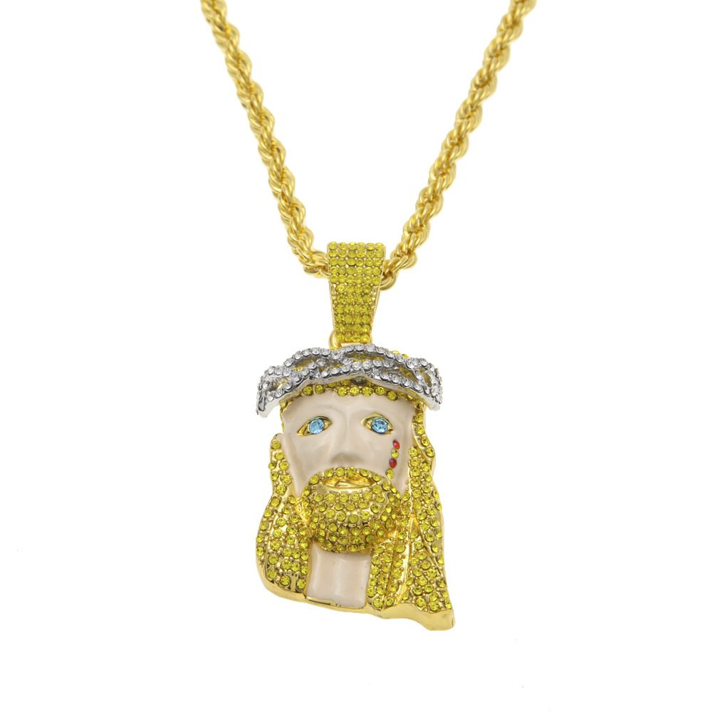 Angelcrab Mens 18k Gold Plated Hip Hop Iced Out Jesus Piece Pendant Chain Necklace,30''