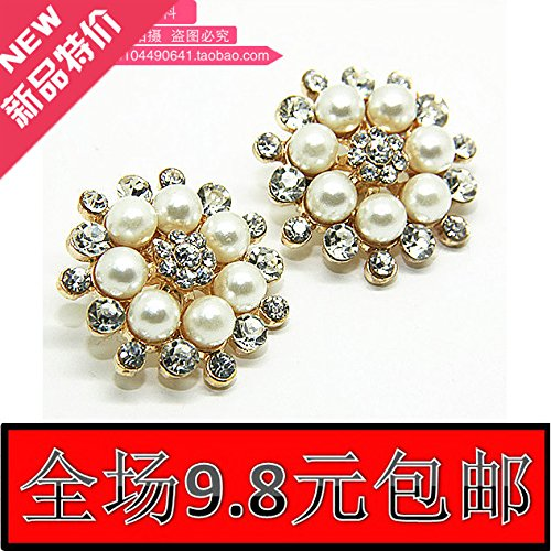 Fur Button Pearl Mink (High-end apparel metal buckle diamond pearl flower rhinestone buttons wholesale 30mm coin mink fur fashion for DIY Art Sewing Sew Tailor Clothing Craft)