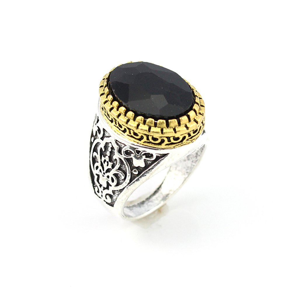 HIGH STONE BLACK QUARTZ FASHION JEWELRY SILVER PLATED AND BRASS RING 8 S22907