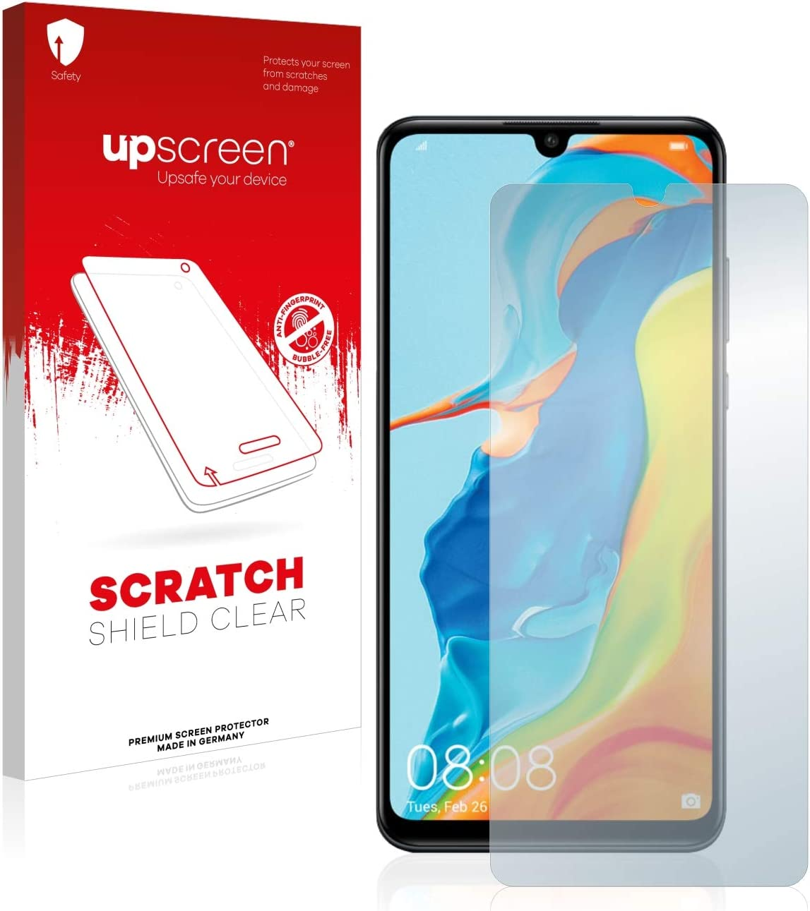 upscreen High Transparency Scratch Shield Clear Screen Protector for Huawei P30 lite Strong Scratch Protection Multitouch Optimized
