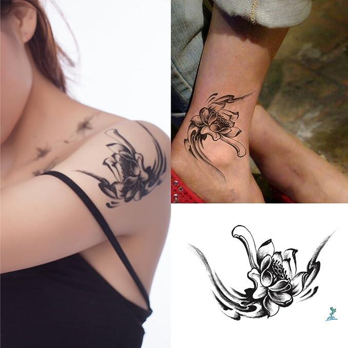Yeeech Tatuajes Temporales Adulto Flor Negro Pequeño Loto para ...