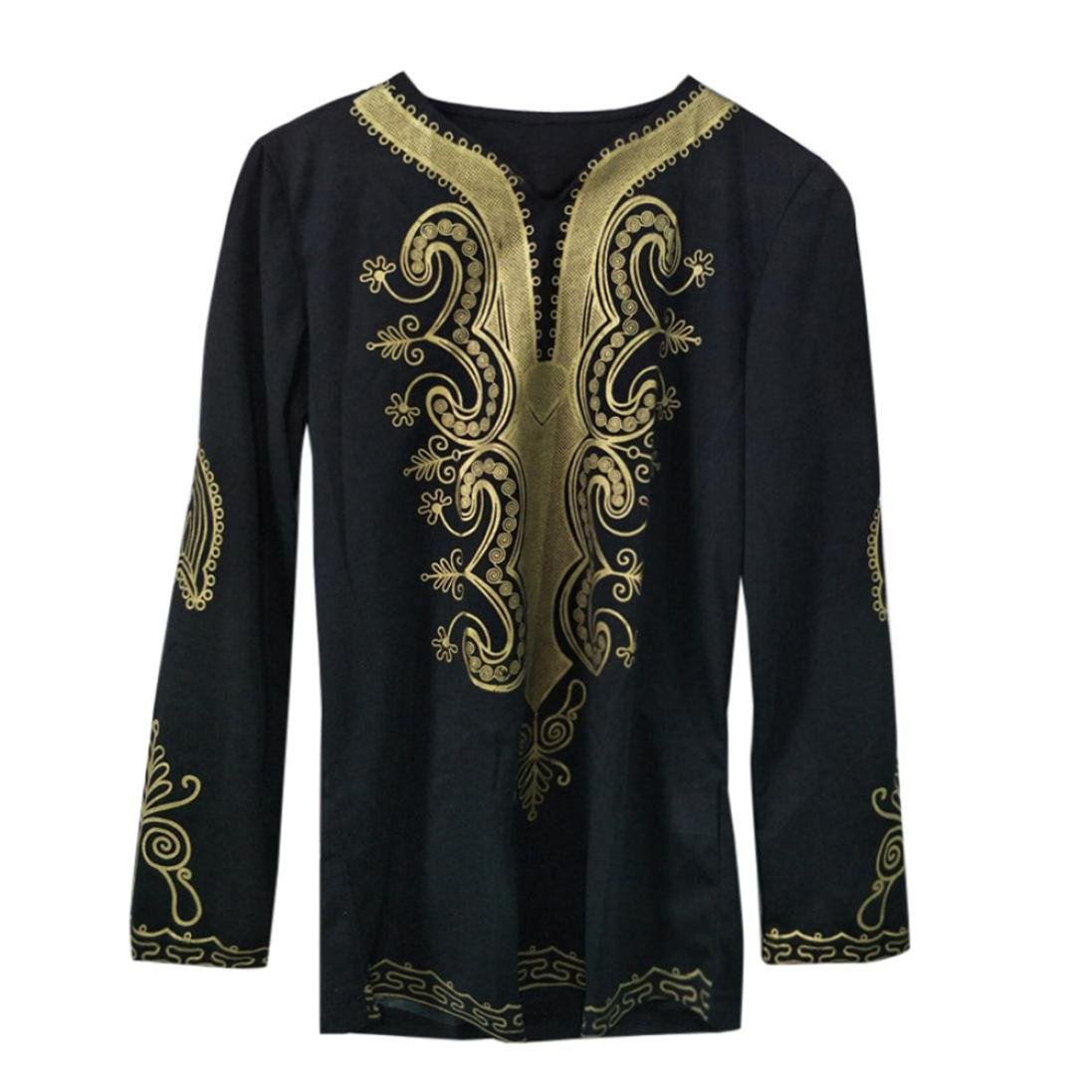 XUANOU Mens Hipster Hip Hop Style African Dashiki Graphic V-Collor Long Sleeve Top T-Shirt (XL, Black)