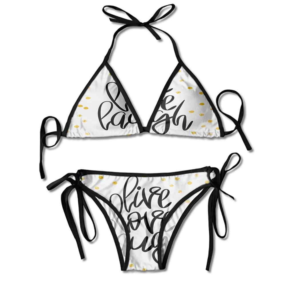 Custom Bikini Zone Creme Hair On Dotted Backdrop Printing Bikini for Women