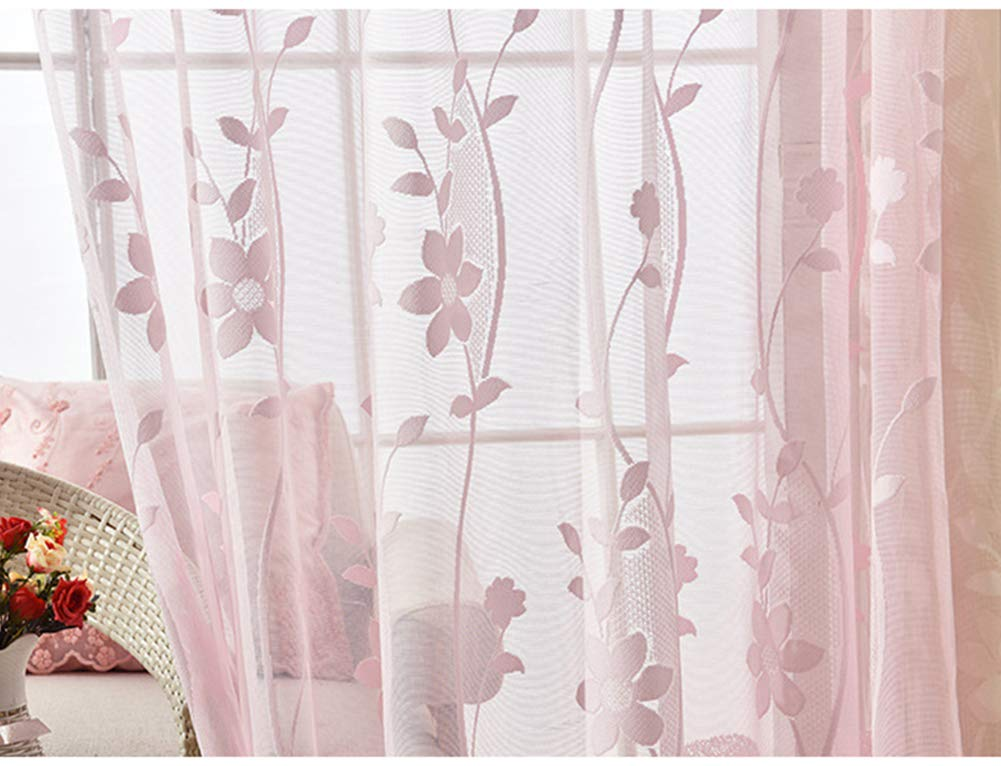 Aside Bside Leisure Style Voile Draperies Home Treatment Sheer Curtains Rod Pockets Peach Petal Jacquard For Kitchen Houseroom and Child Room (1 Panel, W 52 x L 63 inch, Pink)