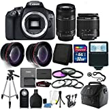 Cheap Canon EOS Rebel 1300D / T6 18MP DSLR Camera with 18-55mm EF-S f/3.5-5.6 + 55-250mm IS II Lens + 32GB Accessory Kit