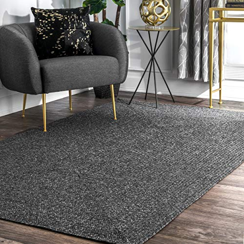 nuLOOM Braided Lefebvre Indoor/Outdoor Rug, 8' Round, Charcoal