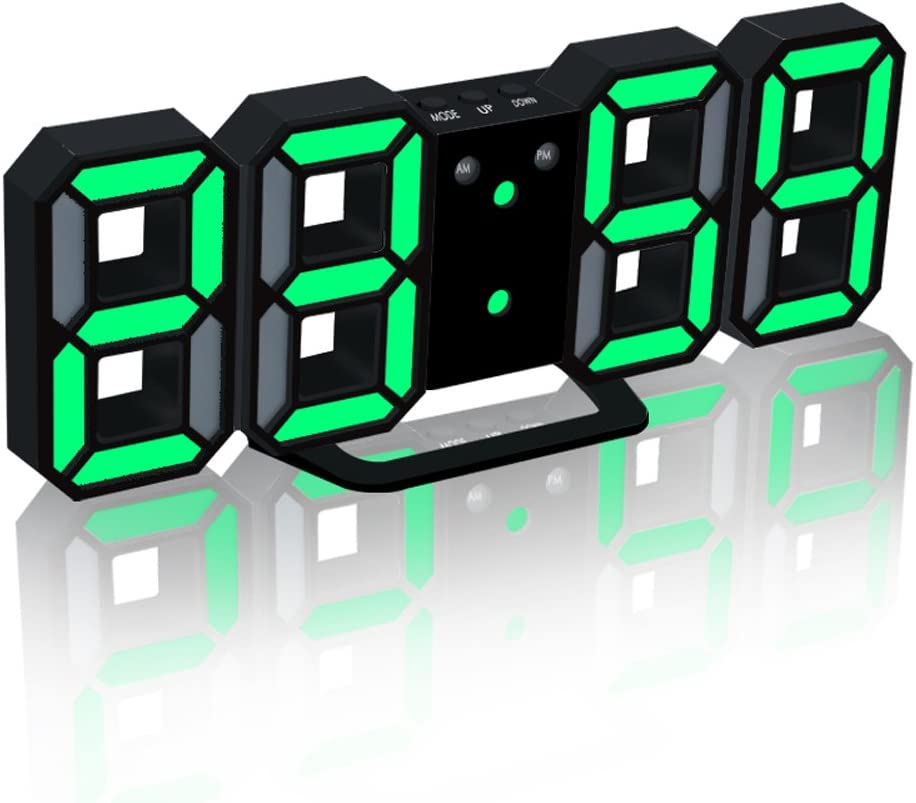 EAAGD Electronic LED Digital Alarm Clock [Upgrade Version], Clocks Can Adjust The LED Brightness Automatically in Night (Black/Green)