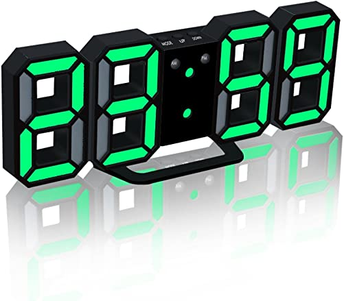 EAAGD Electronic LED Digital Alarm Clocks Upgrade Version , Clock Can Adjust The LED Brightness Automatically in Night Black Green