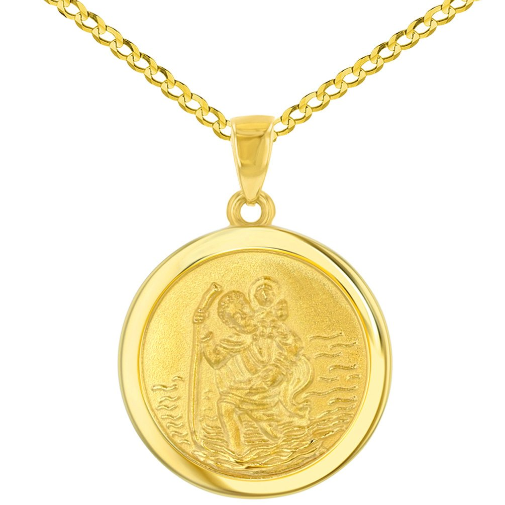 14k Yellow Gold Round Saint Christopher Medal Pendant Cuban Chain Necklace, 24''
