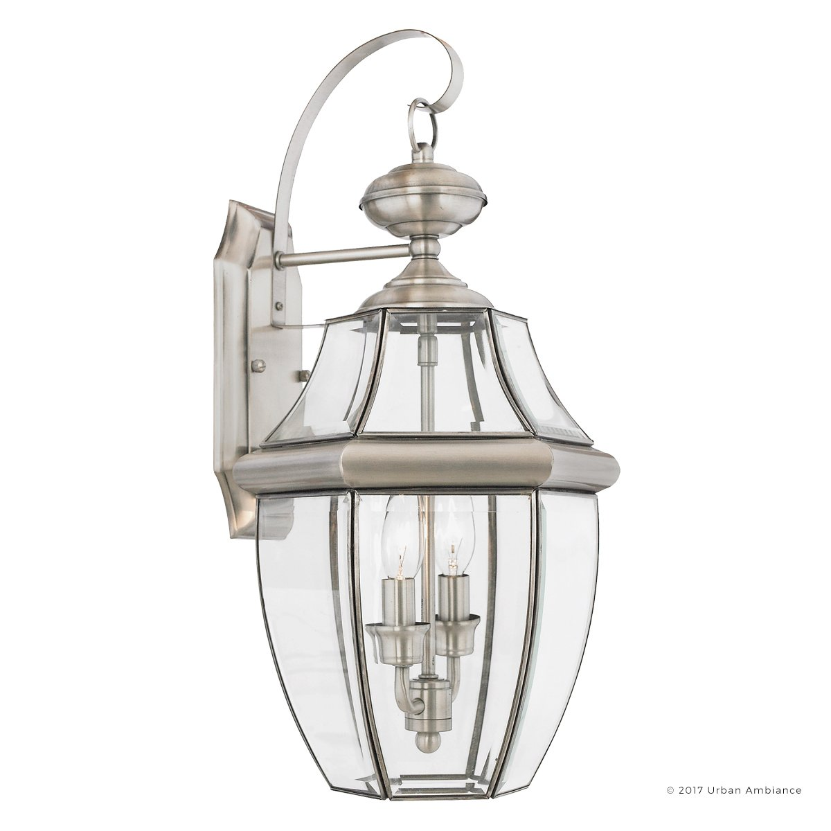 Luxury Colonial Outdoor Wall Light, Large Size: 20''H x 10.5''W, with Tudor Style Elements, Versatile Design, Classy Aged Silver Finish and Beveled Glass, UQL1145 by Urban Ambiance by Urban Ambiance (Image #6)
