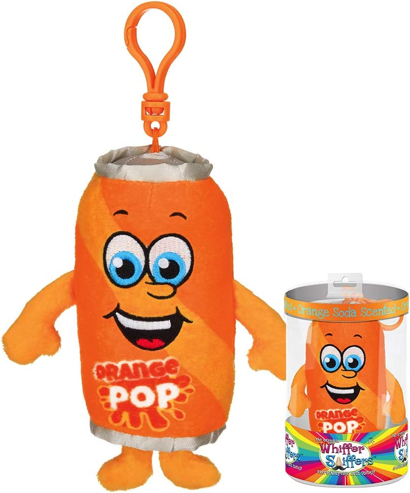 Whiffer Sniffers Pete Poptastic Orange Soda Scented Plush Backpack Clip, 5 in