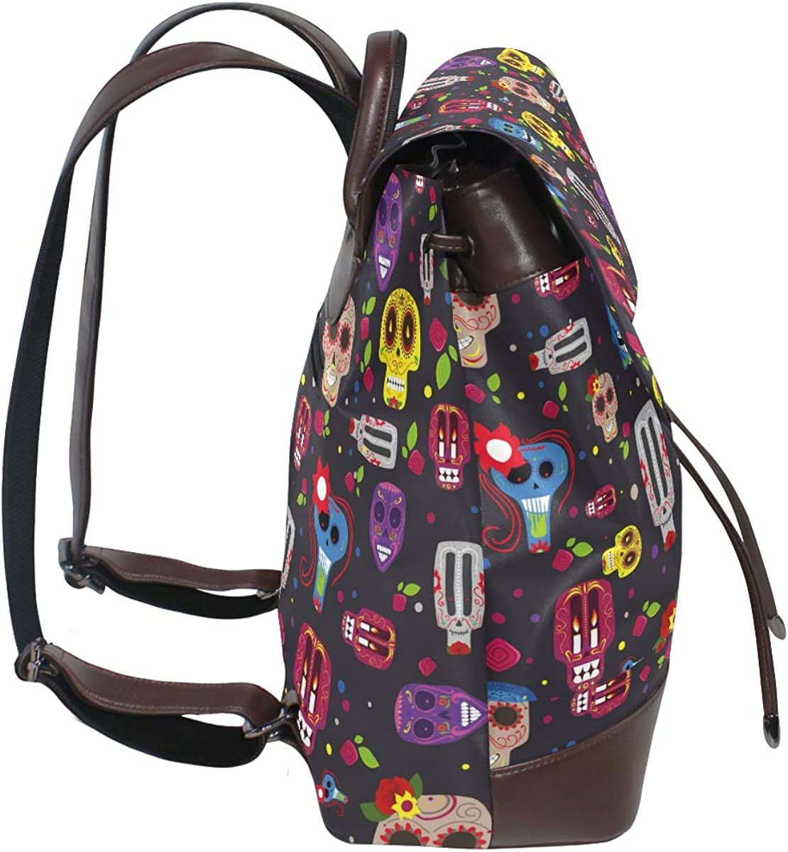 PU Leather Shoulder Bag,Mexican Holiday Of The Dead Backpack,Portable Travel School Rucksack,Satchel with Top Handle