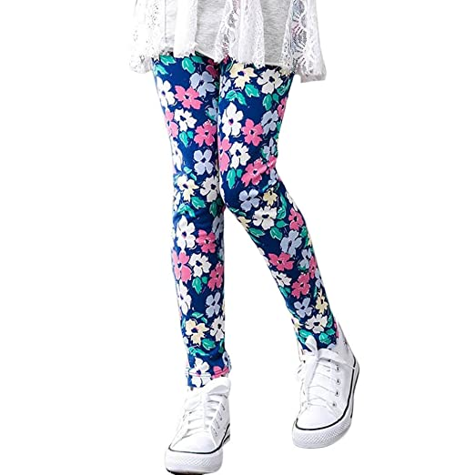 4aa1081f52b5e TLoowy Girls Leggings, Comfy Children Trousers Leggings Floral Print Toddler  Kids Baby Girls Pencil Pants