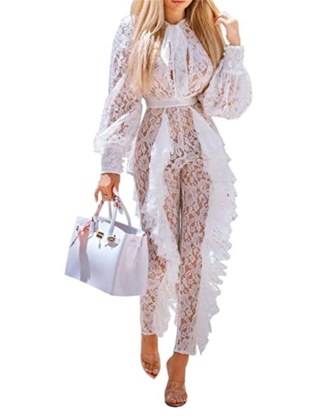 e38b80c666a8 Amazon.com  Women s Sexy Lace Bodycon Jumpsuit Long Sleeve See Through High  Waisted Ruffle Pants Solid One Piece Club Romper Plus Size White  Clothing