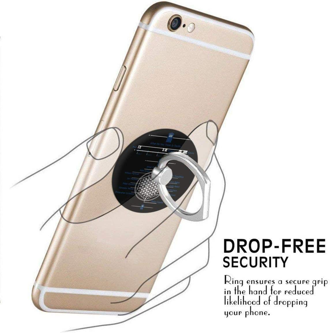 JOELEWIS Doctor Who 360 Degree Rotating Ring Stand Grip Mounts Phone Holder for Any Smartphones iPhone Or Tablets