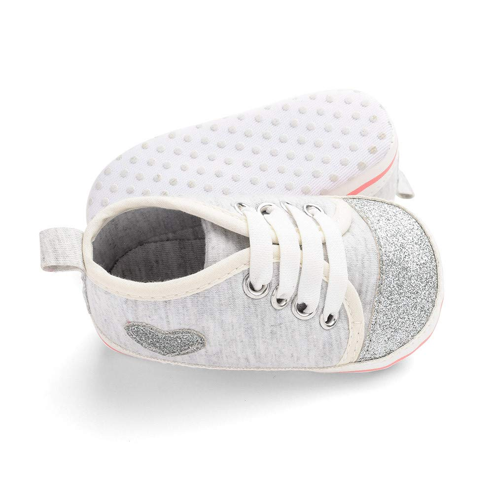 WARMSHOP Toddler Boys Girls Lace-up Anti-Slip Sole Sneakers Heart Print First Walker Casual Shoes