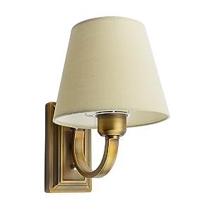 GLW Applique Murale Style,E14 Lampe de Série Minimalisme,Lampe de mur de Bras,Placage de Laiton d'ombre de Tissu,Pour Chambre Salon,Escalier,Couloir,Sentier(NO ampoule)