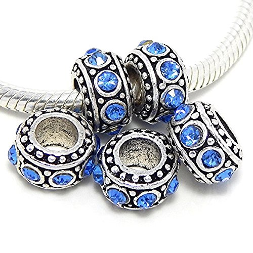Sapphire Slide Spacer (Pro Jewelry Set of Five (5) Sapphire Blue Rhinestone Spacer Beads for Snake Chain Charm Bracelets)
