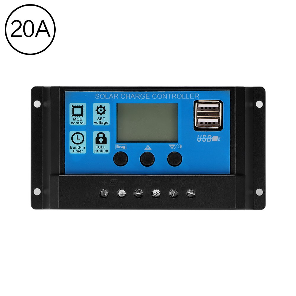 TiooDre 20A 12V/24V Solar Charge Controller with LCD Display Auto Regulator Timer Solar Panel Battery Lamp LED Lighting Overload Protection