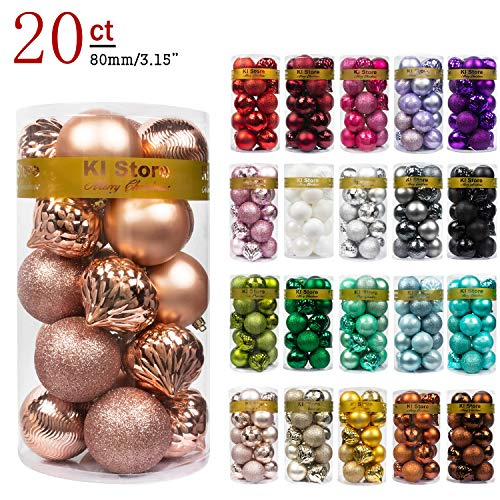KI Store 20ct Christmas Ball Ornaments Rose Gold Shatterproof Christmas Decorations Large Tree Balls for Holiday Wedding Party Decoration, Tree Ornaments Hooks Included 3.15