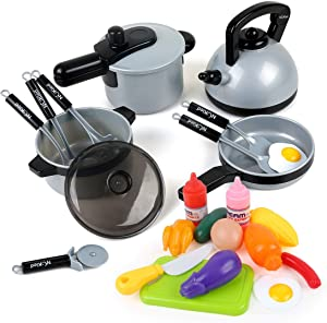 22 Pcs Kids Kitchen Pretend Play Toys, Cooking Toys with Pots and Pans for Toddlers Girls Boys, Cookware Playset Toys for 2 3 4 5 6 7 Years Old, Kitchen Playset Accessories with Play Food
