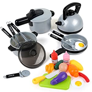 22 Pcs Kids Kitchen Pretend Play Toys, Cookware Toys with Pots and Pans for Toddlers Girls Boys, Cooking Playset Toys for 2 3 4 5 6 7 Years Old, Kitchen Playset Accessories with Plastic Food