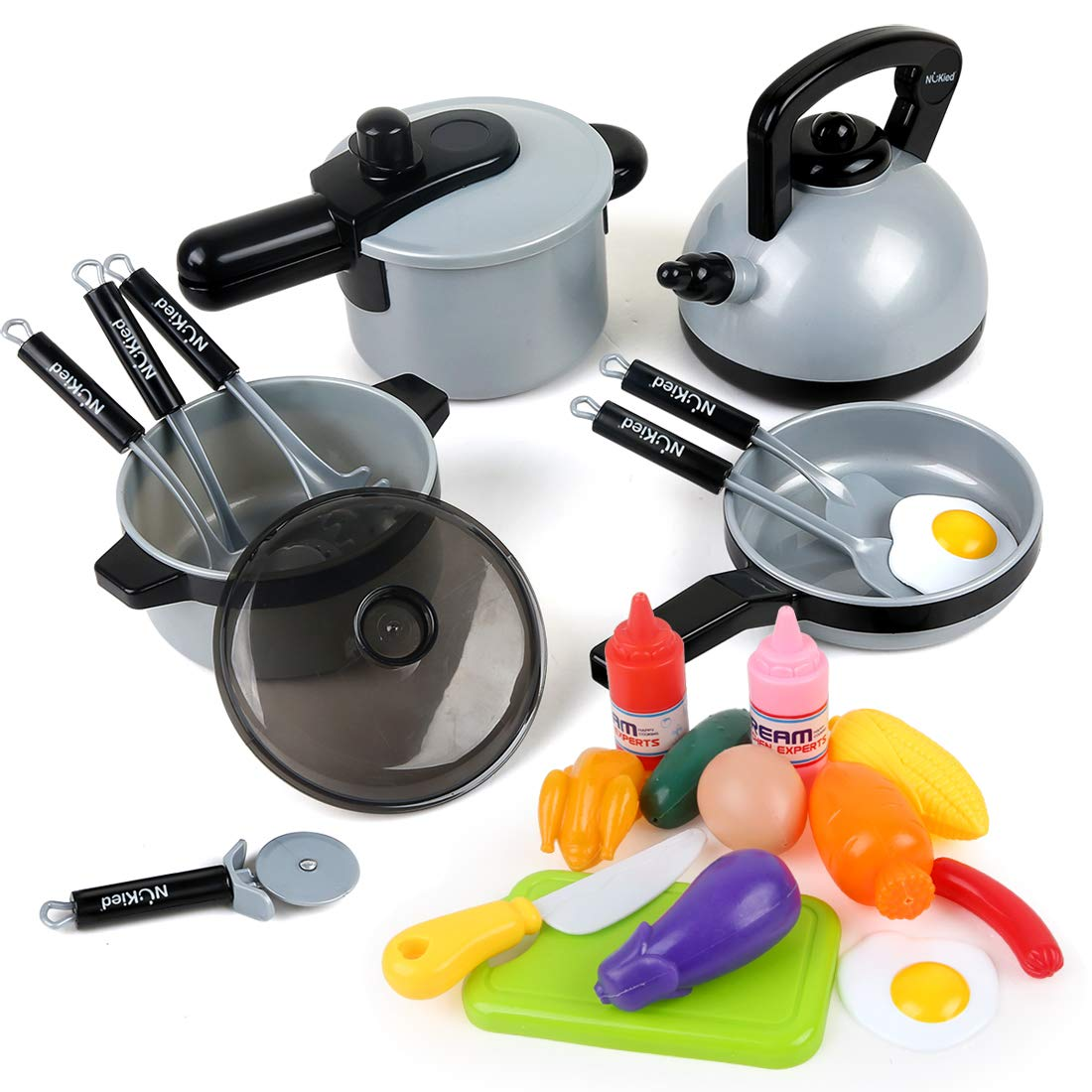 22 Pcs Kitchen Pretend Play Toys for Kids Toddlers, Cookware Set Toys with Pots Pans Foods for Girls Boys, Cooking Playset Toys for 2 3 4 5 6 7 Years Old, Kitchen Playset Accessories with Plastic Food