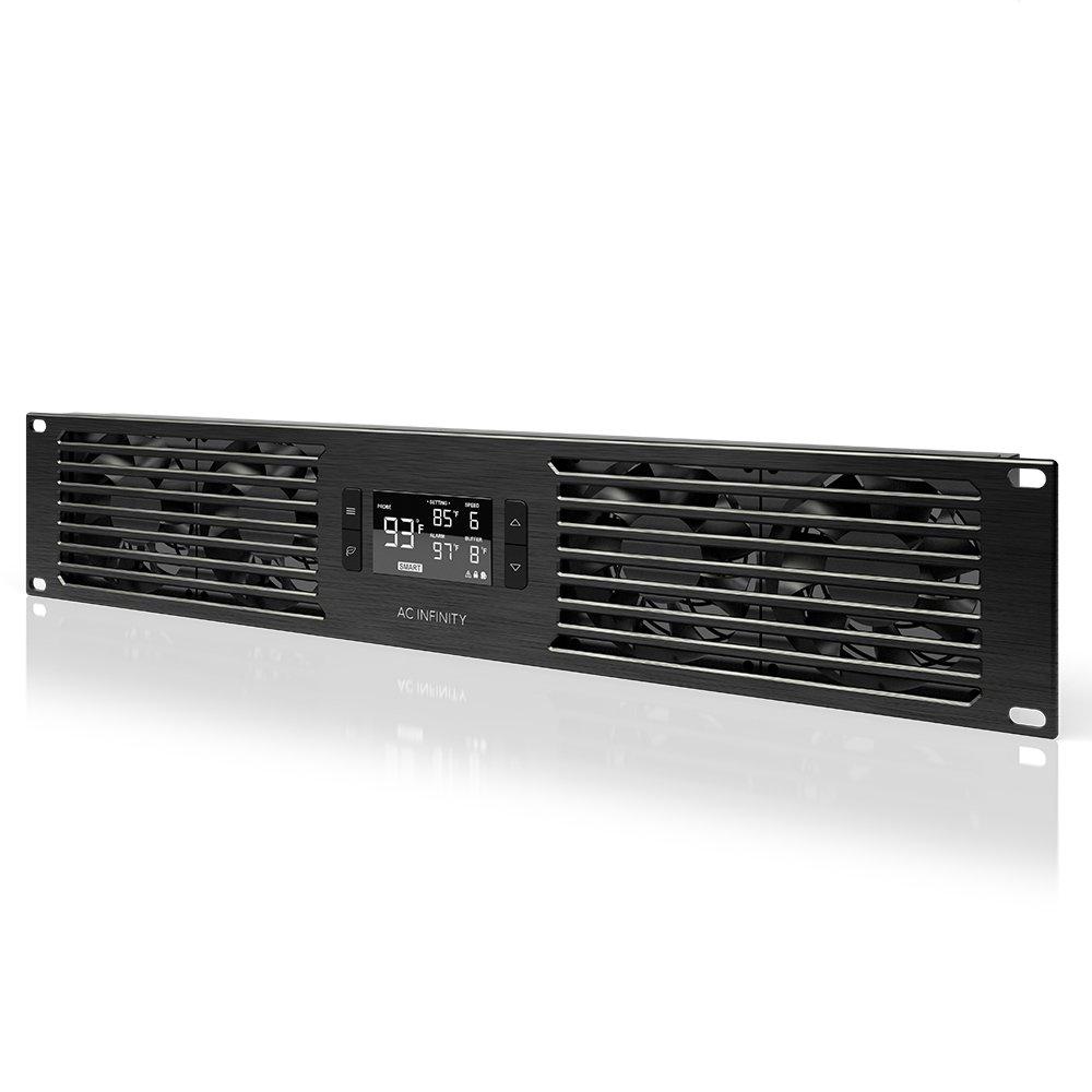 "AC Infinity CLOUDPLATE T7-N, Rack Mount Fan Panel 2U, Intake Airflow, for cooling AV, Home Theater, Network 19"" Racks"