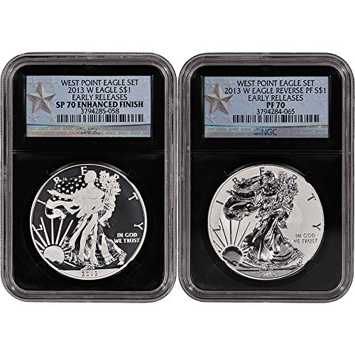 2013 W American Silver Eagle - West Point Two-Coin Set 70 - Early Releases - Retro Core Holders (Bullion Black Finish)
