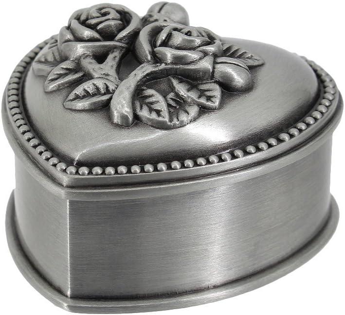 Multifit Antique Metal Rose Engraving Heart Shape Wedding Ring Jewelry Box Trinket Jewelry Storage Keepsake Box(Rose Heart)