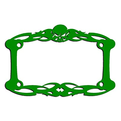 Ferreus Industries Green Powdercoat Motorcycle License Plate Frame Tattoo Skull Skeleton Skull - 1 Piece LIC-112-Green: Automotive