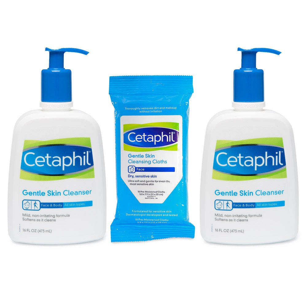 Cetaphil Gentle Cleanser Combo Twin Pack with 10 count Facial Wipes for All Skin Types, 16.0 Ounce, 3 Count