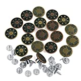 Naler 20pcs Jeans Button, 17mm Vintage Metal Jeans Button Replacement with Tack Nail Pin, 2 Designs, Bronze/Copper
