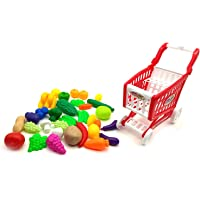 Forever Kidzz Supermarket Shopping Cart Pretend Play Playset Toy with Fruits and Vegetables for Kids, 30 Pieces