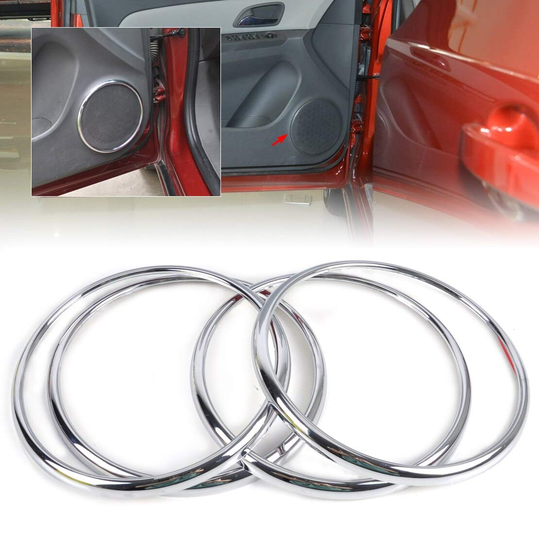 4Pcs Chrome Audio Speaker Stereo Decorative Ring Cover Loop For Chevrolet Holden Cruze 2009 2010 2011 2012 2013 2014