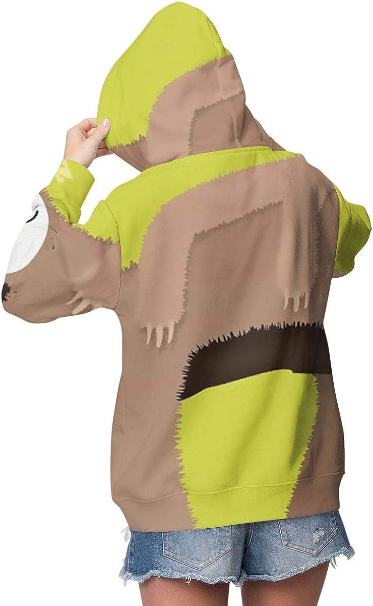 Cute Funny Sloth Sleeping in Tree Womens Long Sleeve Pullover Hooded Sweatshirt Top Hoodie with Fleece Lining