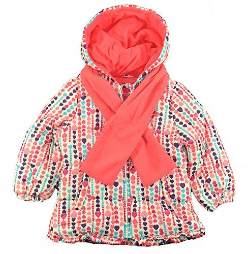 - London Fog Little Girls' Print Ruffle Puffer Coat with Scarf, White, 4T
