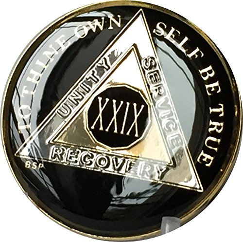 29 Year Classic Black AA Medallion Chip Tri Plate Gold & Nickel Plated Serenity Prayer 29 Classic Books