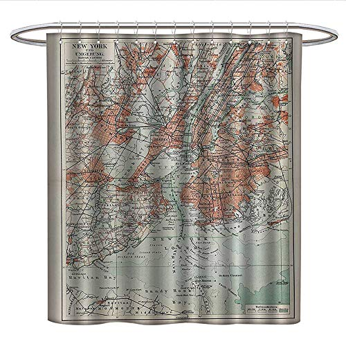 NYC Decor Collectioncloth Shower curtainNew York Old Map from The End of 19th Century Antiques History Historical SymbolCurved Shower Curtain rodCoral Green Beige ()