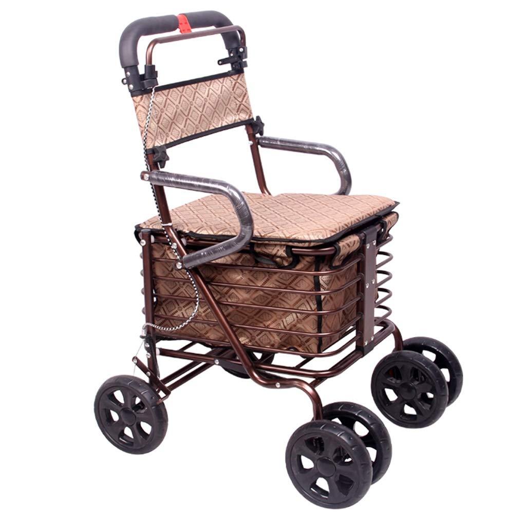 ショッピングキャリー ウォーカースモールカートオールドカート食料品買物車車椅子プッシュ可能高齢者用折りたたみ式ウォーカー四輪ショッピングカートスクーター積載量100kg高齢者への最高の贈り物/ブラウン ショッピングバッグ (Color : Brown) B07MH7D4MQ Brown