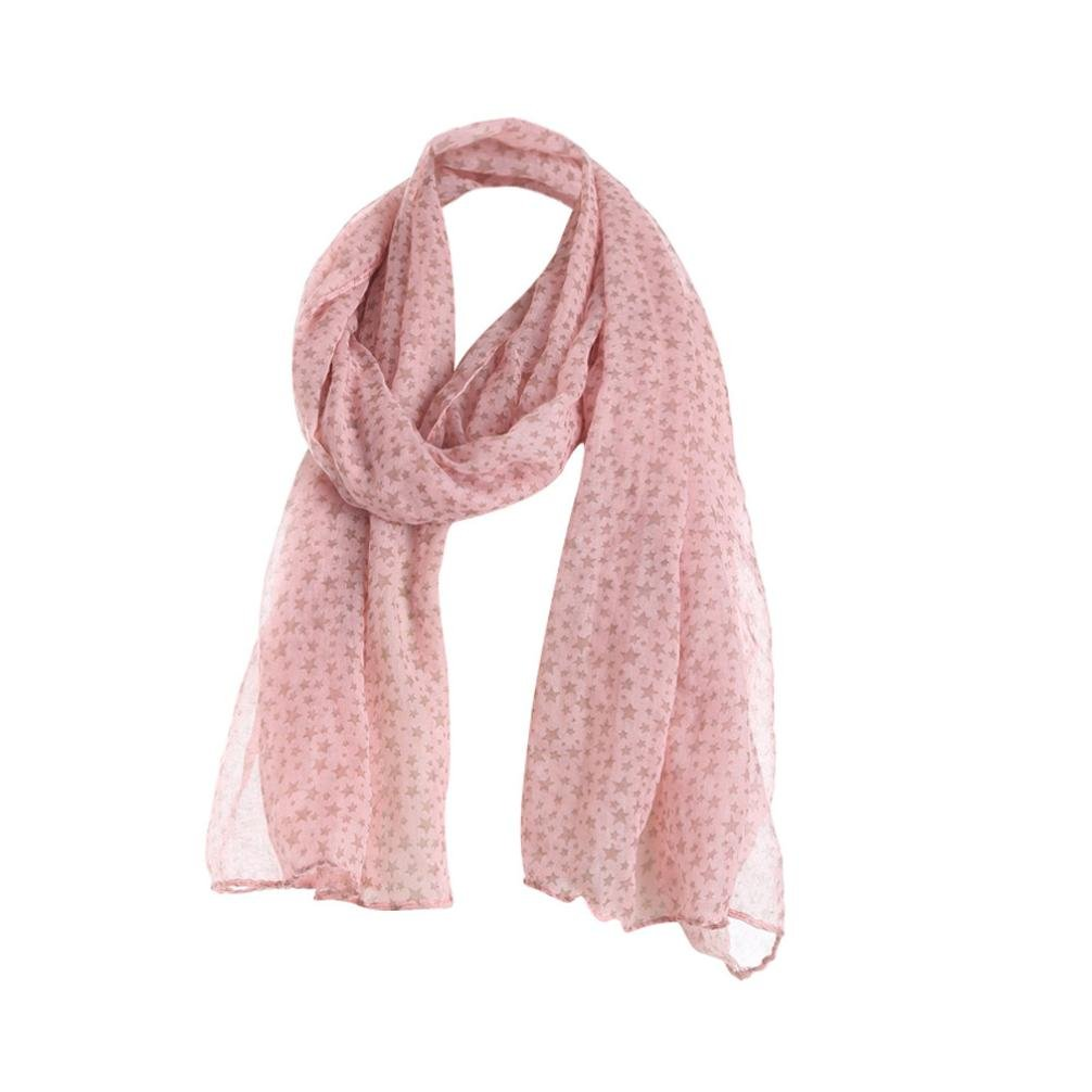 Women Scarfs and Wraps - BSGSH Lightweight Star Print Scarves Shawl Wrap for Women (Pink)