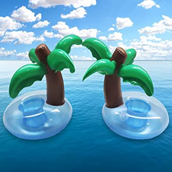 2 pzas Inflables Coconut Cup sostenedor de agua inflable, copa flotante Portavasos PVC Palm Cola
